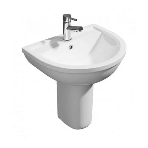 Kartell Lifestyle Basin - Semi Pedestal - 450mm Wide - 1 Tap Hole - White